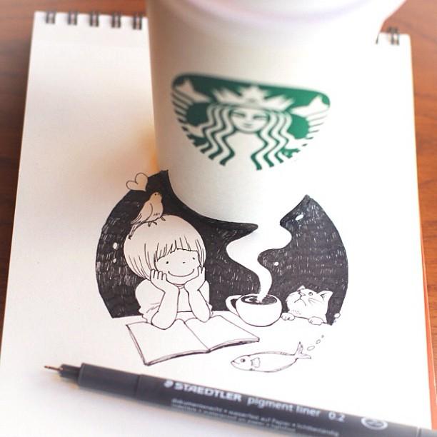desenhos com copos do star bucks 1