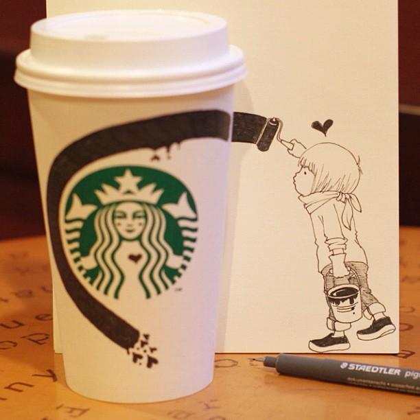 desenhos com copos do star bucks 2