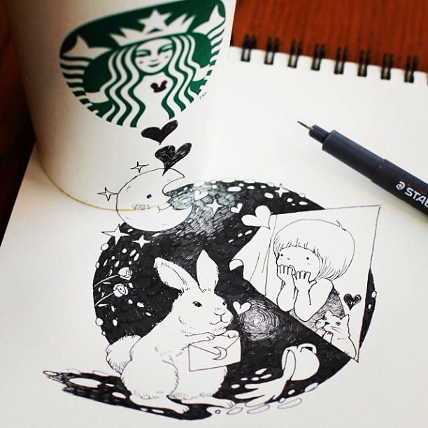 desenhos com copos do star bucks 6